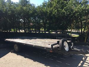 2006 14x7 flatbed ATV trailer with new tires, ramps spare