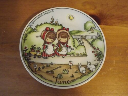 """June Plate, 7.75"""" Joan Walsh Anglund 1966 Design, Walter, Germany (Used/EUC)"""