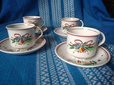 "4 Salem ""Christmas Eve"" Tea Cups & Saucers by Viktor Schreckengost"