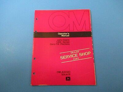 John Deere Operator's Manual OM-A33503 1400 Series Zero till Planters  M5098 for sale  Shipping to Canada