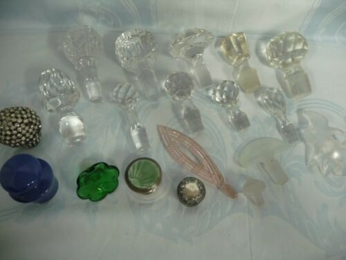BOX LOT DECANTER & SCENT BOTTLE STOPPERS, CRYSTAL, RHINESTONE, POTTERY, STERLING
