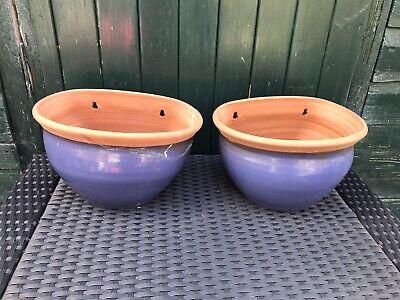 Garden handmade hanging terracotta blue glazed two pots