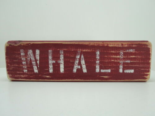 12 INCH WOOD HAND PAINTED WHALE SIGN NAUTICAL SEAFOOD (#S780)