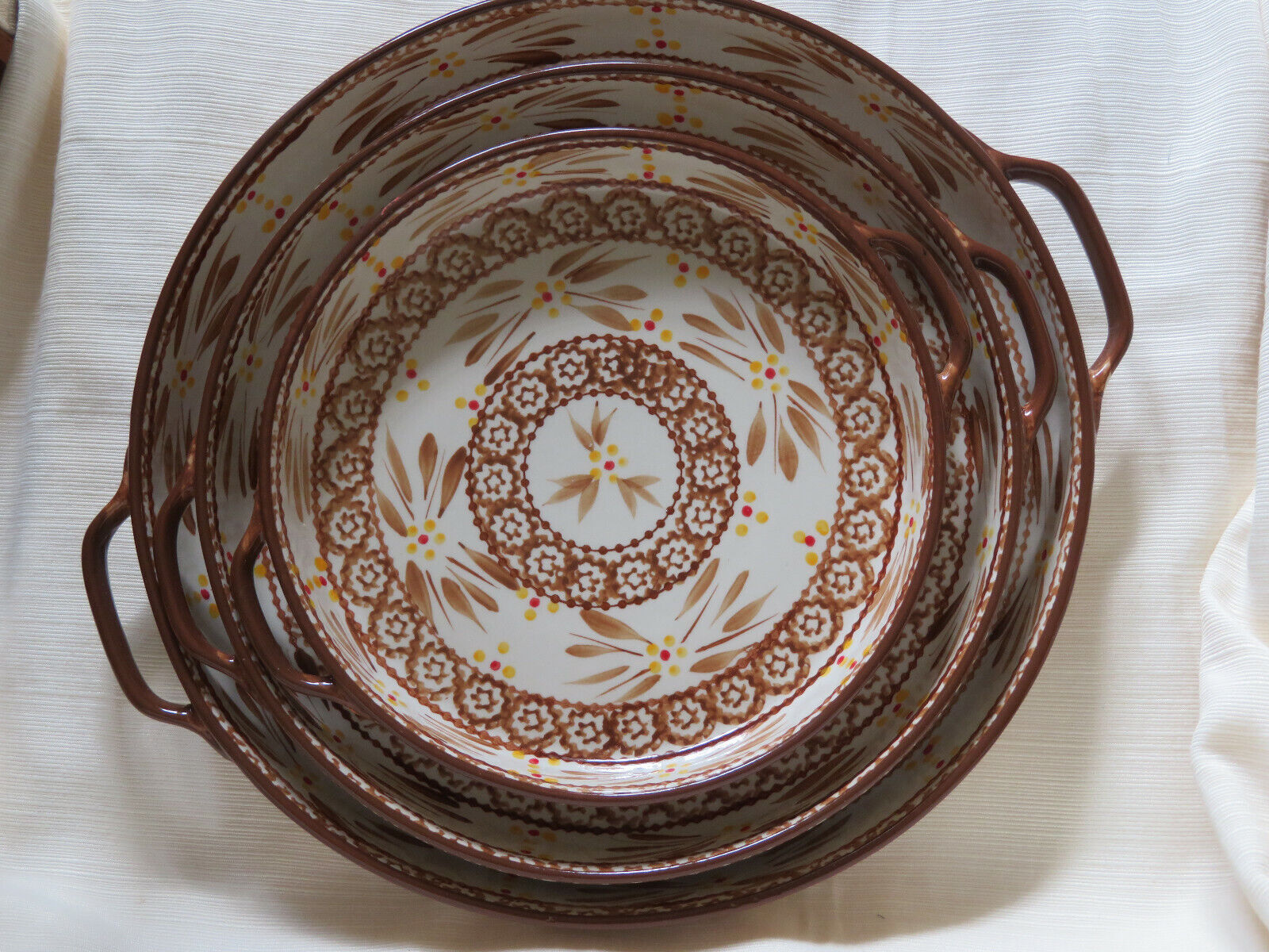 3 Temp-tations Round Platter Serving Tray 1, 1.5, 2.5 QT Old World Brown - $75.00