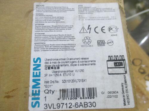 Siemens amp trip unit # 3VL9712-6AB30  1250 amp overcurrent