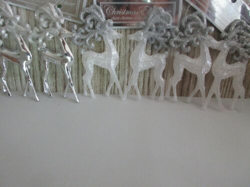 Lot of 6~ White & Silver Glitter Reindeer Christmas Ornaments- Tree Holiday