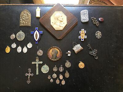 Lot Medals Religious Pin Pendants Antique