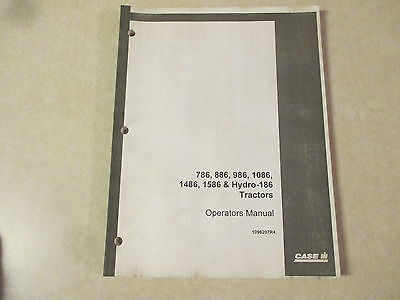 International Harvester 786 886 986 1086 1486 1586 Hydro 186 Owners Manual