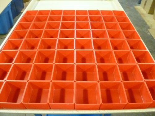"""64 3""""x3""""x2"""" Red Plastic Boxes for Vertical Lift Storage System Bins Trays Cups"""