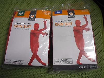 New ! Youth Red Skin Suit Costume Hooded Jumpsuit Boy Size Medium or - Red Skin Costume