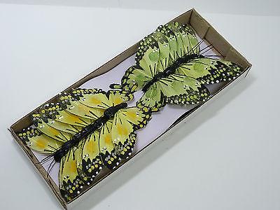 12 Schmetterlinge am Draht gelb grün 10cm Federschmetterlinge Dekostecker 2