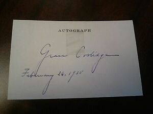 Signed and dated Grace Coolidge Autograph card