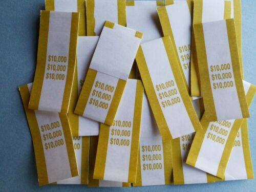 25 New Pre Sealed Mustard $10000 Straps Currency Bands for cash money bank bill