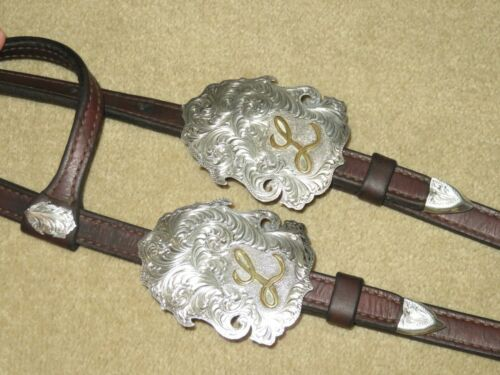"""BERG CUSTOM Solid Sterling Silver Letter """"L"""" Western Headstall Bridle~Bit Clips"""