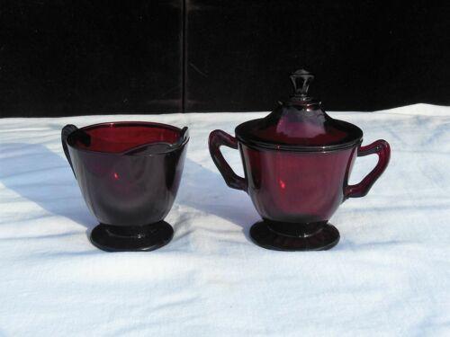 Anchor Hocking Royal Ruby Red Glass Footed Creamer & Sugar Bowl & Lid