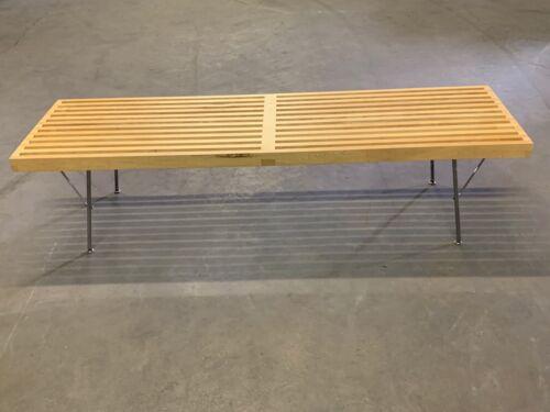 "George Nelson for Herman Miller Platform Bench Metal Base 60"" Long Natural Maple"