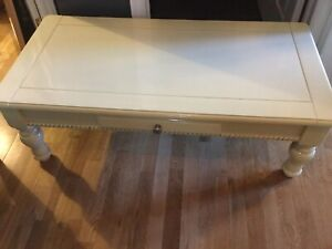 Yellow wood coffee table - available-
