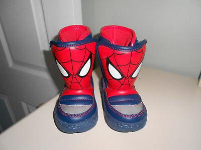 Disney Pixar Spiderman Snow Boots Light Up Slip On Toddler Size