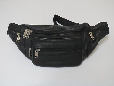 Genuine Leather Black Fanny Pack Waist Bag Hip Belt Pouch Travel Purse Men Women