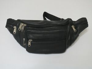 e7759739f8 Genuine Leather Black Fanny Pack Waist Bag Hip Belt Pouch Travel Purse Men  Women