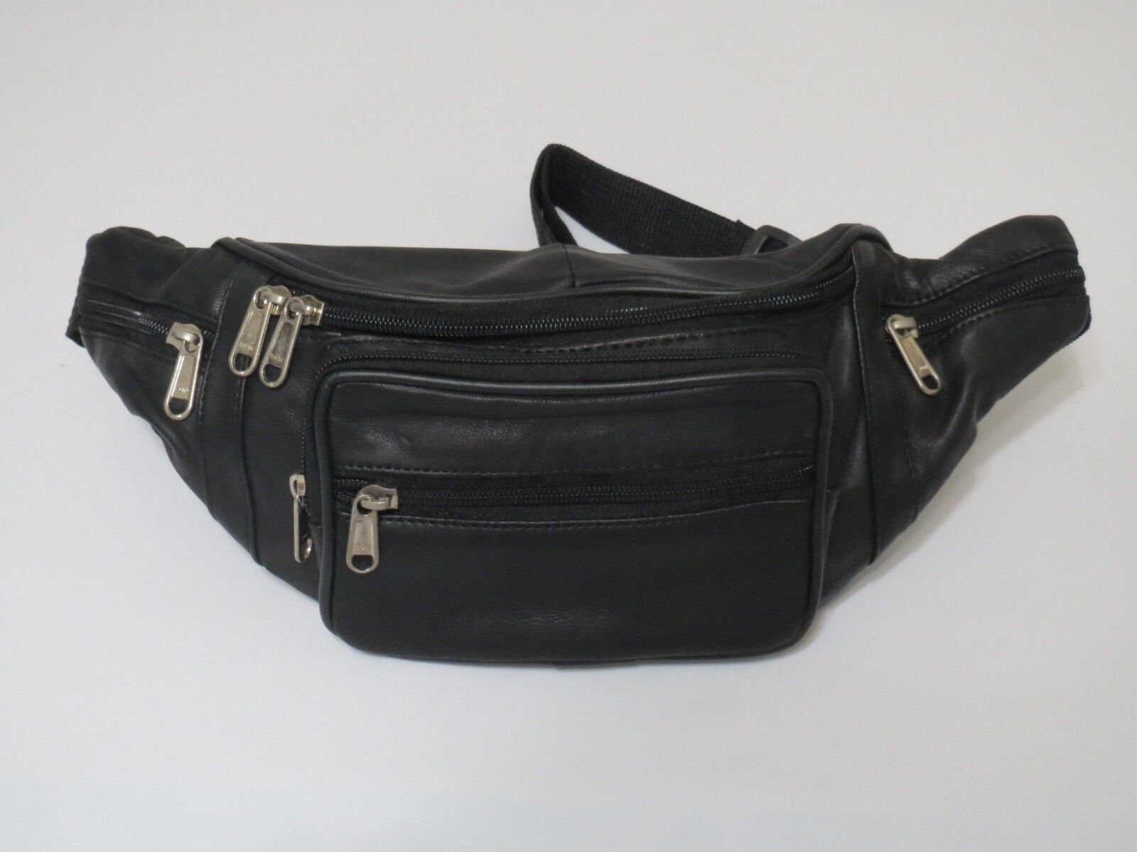 Genuine Leather Black Fanny Pack Waist Bag Hip Belt Pouch Tr