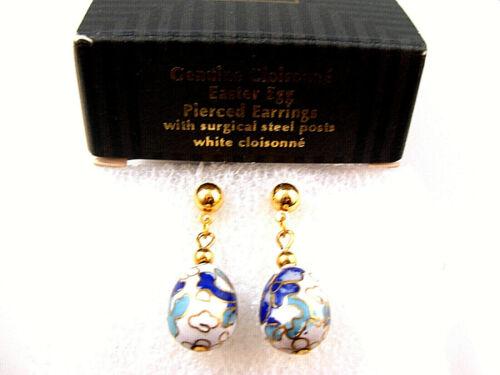 Avon GENUINE CLOISONNE EGG Pierced Earrings 1994 NIB NOS white