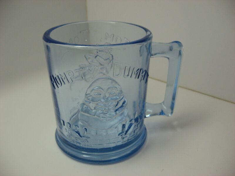 Humpty Dumpty Blue Glass Mug Cup Tom Pipers Son Nursery Rhyme