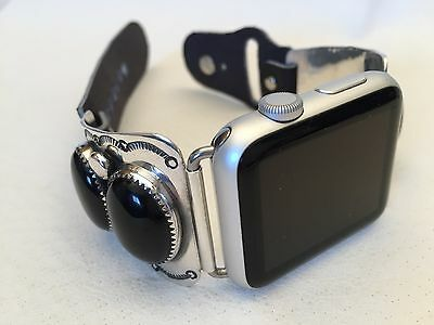 Handcrafted Native American Black Onyx and Silver Apple WATCH Band 42mm