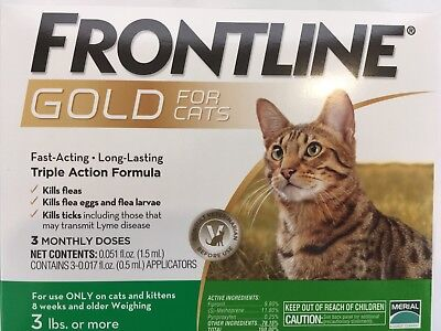 NO MORE FLEAS!! 3 MONTH SUPPLY FRONLINE GOLD FOR CATS