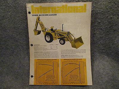 1971 International 3600a Backhoe Loader Tractor Brochure Pamphlet Sheet Vintage