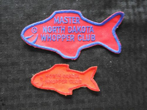 "c.1970 NORTH DAKOTA FISH & GAME DEPARTMENT ""WHOPPER CLUB"" PATCH SET MINOT ND DNR"