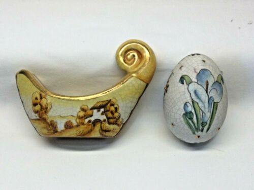 2 Pc Hand Made Veneto Flair Italy Ceramic 1975 Easter Egg & Landscape Candle