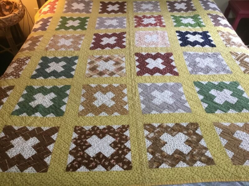 Antique Multicolored Patchwork Quilt, Very Small Hand Stitched Quilting, 69x71