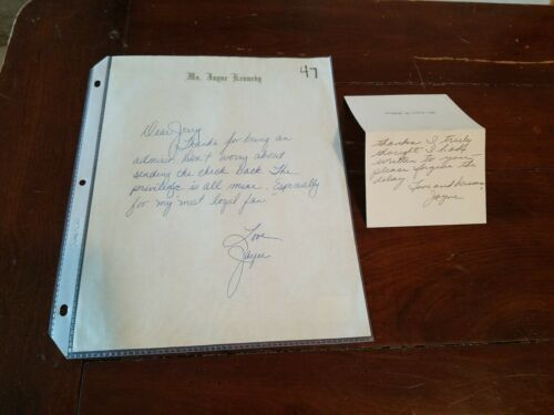 SET OF 2! JAYNE KENNEDY ALS AUTOGRAPH LETTER SIGNED PLAYBOY PLAYMATE RARE LOT
