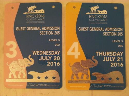 RNC 2016 Cleveland Cuest General Admission Memorabilia