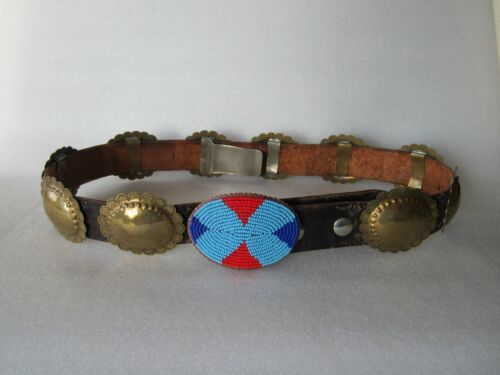 Antique Navajo Beaded Buckle Hammered Etched Brass Concho Tooled Leather Belt
