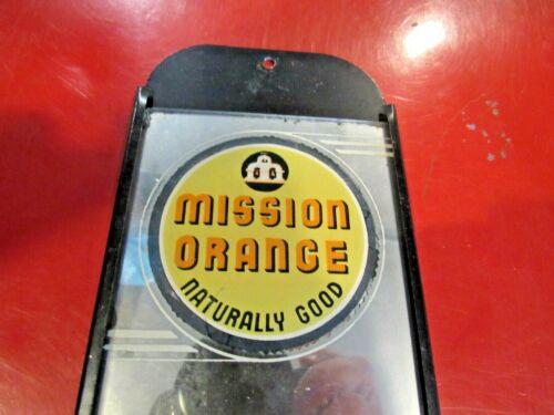 ORIGINAL VINTAGE MISSION ORANGE SODA REVERSE PAINT MIRROR ADVERTISING SIGN