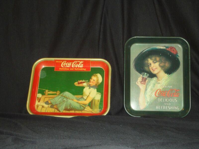 "Vintage ""Drink Coca-Cola"" Tin Serving Trays Set of 2"