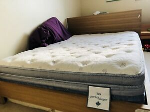 Queen size solid wood bed and mattress