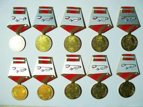 Lot 10 Award Veteran Anniversary Medals 60th Year of WW2 Victory USSR  2