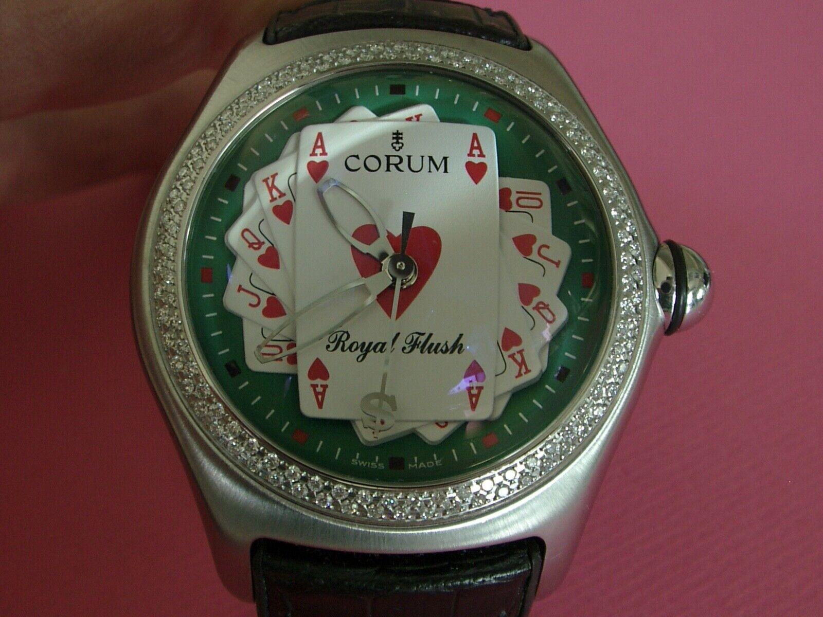 "CORUM BUBBLE ""ROYAL FLUSH"" ALL STEEL DIAMOND BEZEL 100% AUTHENTIC MANS WATCH!!! - watch picture 1"