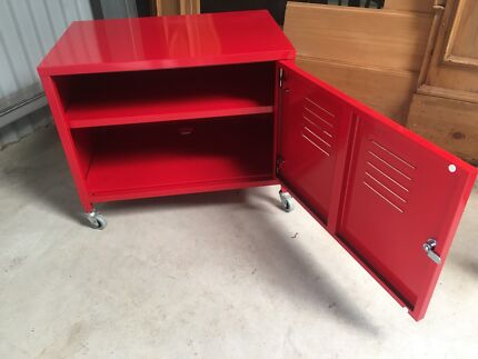 IKEA Red Lockable PS Cabinet On Wheels With Shelf