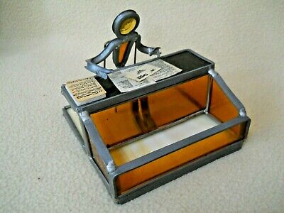 Vintage Stained Lead Glass Business Card Holder Office Desk
