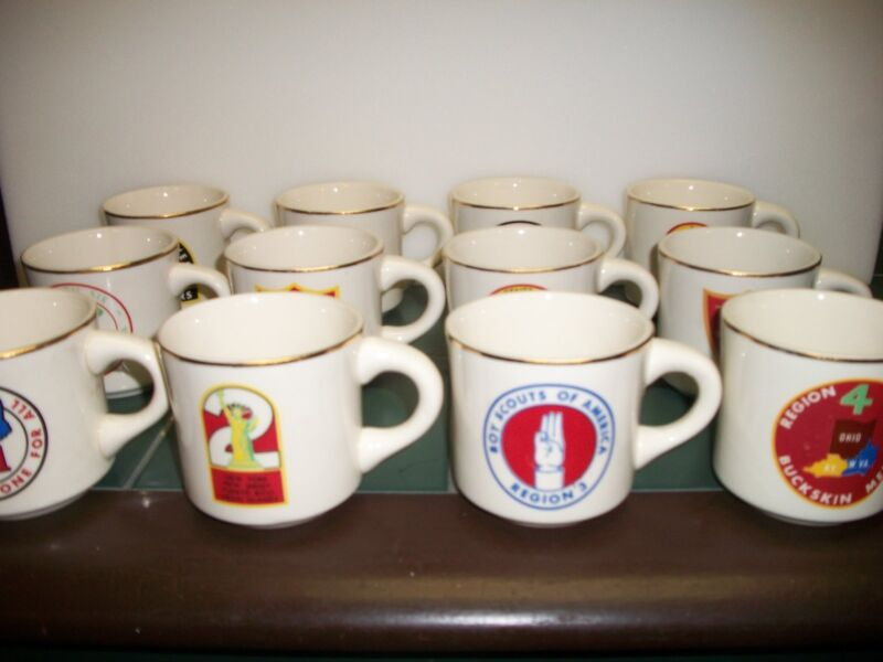 1972 Collectible Boy Scout Mug collection of 12