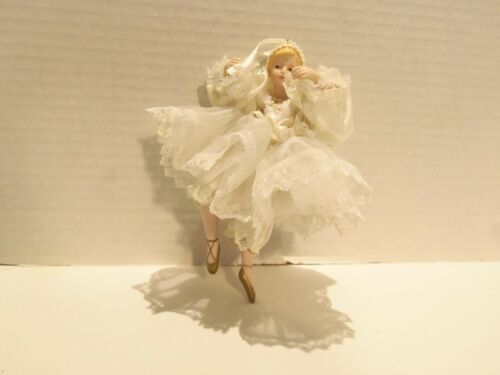 PORCELAIN BALLERINA CHRISTMAS ORNAMENT LACEY DRESS- FAUX PEARLS- 7 INCHES-RARE