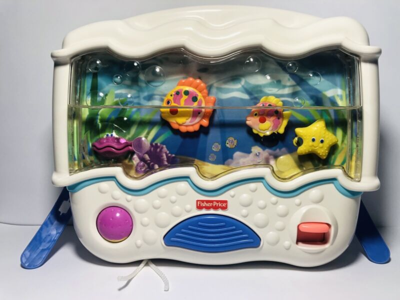 2002 Fisher Price Ocean Wonders Aquarium Sounds Lights Baby Crib Soother Working