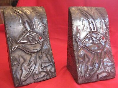 WONDERFUL EARLY 20th CENTURY PAIR OF NEWLYN INSPIRED PEWTER BOOKENDS