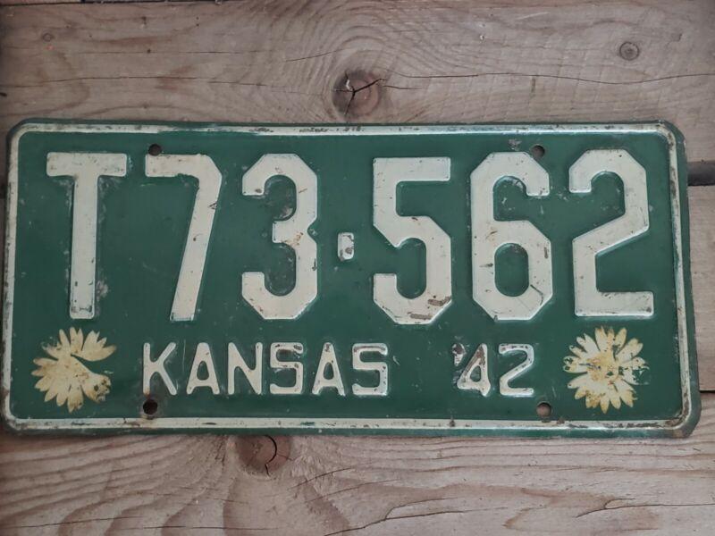Vintage Kansas 1942 License Plate