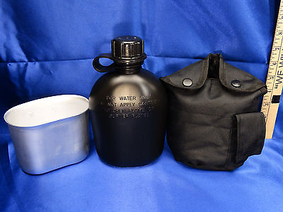 NEW US Military Tactical Survival Black 1 QT Water Canteen + Cover + Cup Set