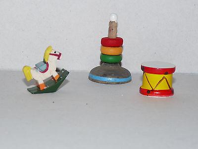 Babyspielzeug Holz 3teilig für die Babypuppe 1:12  Puppenstube Puppenhaus